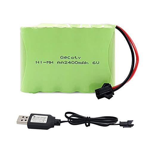 Gecoty® Paquete de baterías de 6 V, paquete de baterías NiMH, paquete de baterías AA recargables de 2400 mAh con cable de carga USB, enchufe SM 2P para niños 4WD RC Car 1/18, RC Truck 1:12