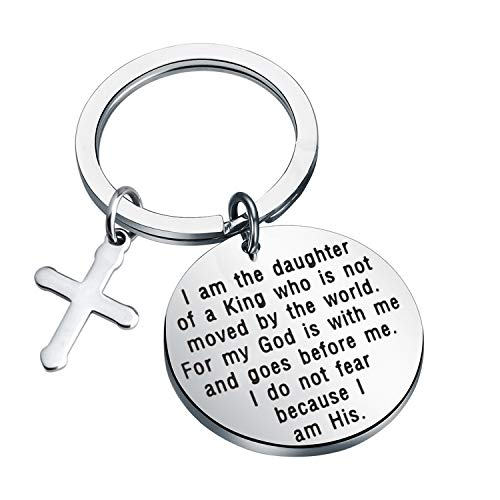 MYOSPARK I Am The Daughter of A King Christian Keychain Religious Jewelry Inspirational Gift for Women Baptism Gift for Girls (Daughter of A King Keychain)