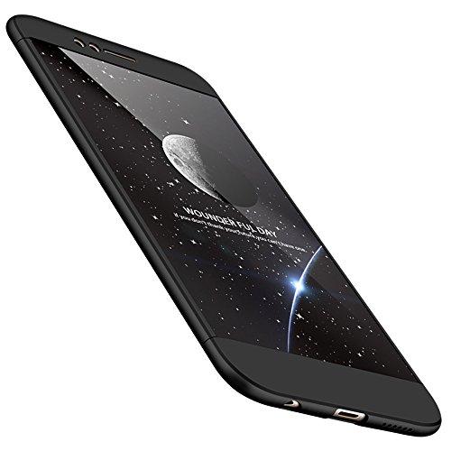 Huawei Nova 2 Hülle Huawei Nova 2 Handyhülle 3 in 1 Ultra Dünner PC Harte Schutzhülle 360 Grad Hülle + Panzerglas für Huawei Nova 2 Komplett Hülle Fullbody Case Cover - Schwarz
