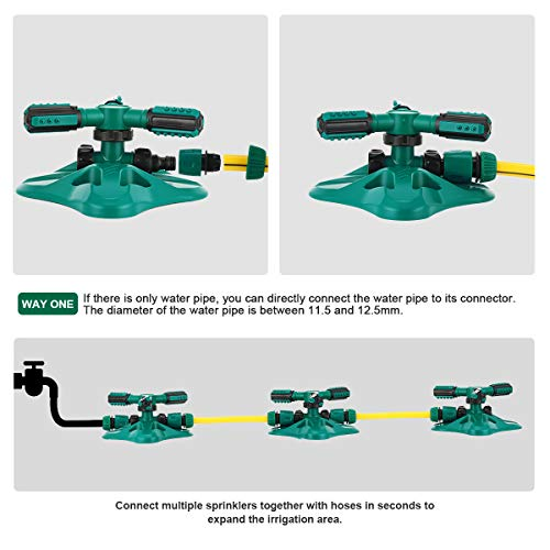 WISDOMWELL Garden Sprinkler Adjustable water spray range Suitable for large areas of lawn Automatic 360 Degree 3 Arm Rotating Sprinkler System Sprinklers (1Sprinkler+4Connectors+2 Sprinkler Head)