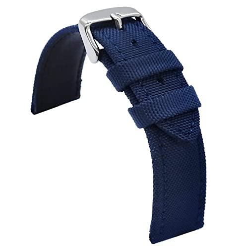 Chtom Transpirable 23mm 24mm Correa de reloj de cuero marrón Híbrido Correa de reloj de goma de silicona para hombres mujeres reloj de pulsera, 24 mm.,