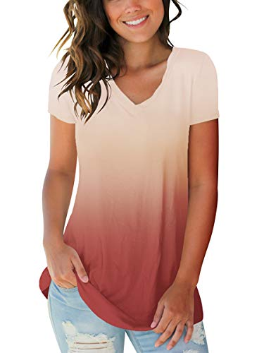 Women's V Neck Sexy Short Sleeve Game Thrones Tops Summer Tee Shirts Coral S