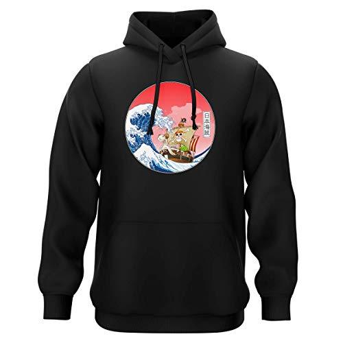 Sweat-Shirt à Capuche Noir Parodie One Piece - La Grande Vague de Kanagawa et Le Vogue Merry - Pirates en mer du Japon. : (Sweatshirt de qualité Premium de Taille S - imprimé en France)