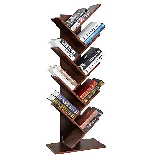SUPERJARE 9-Shelf Tree Bookshelf, Floor Standing Tree...