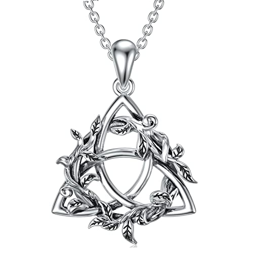 Celtic Knot Necklace 925 Sterling Silver Jewelry Oxidized Good Luck Irish Celtic Knot Jewelry with Tree Leaf Pendant Necklace