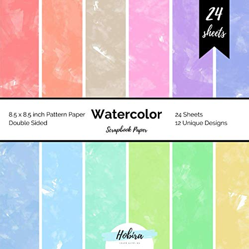 Watercolor Scrapbook Paper: Pattern Paper Double Sided 8.5x8.5 Design Paper for Card Making, Origami, Art Craft Projects and Scrapbook Journal 24 Paper Craft Sheets
