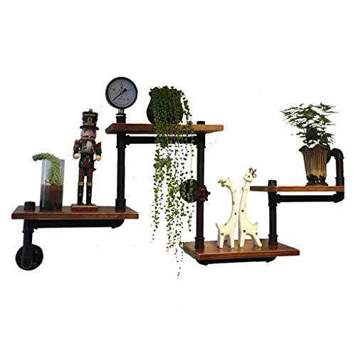 Wandrek, wandrek, boekenrek, rek, rek, woonkamer, wand hangen, massief hout, scheidingswand, boekenrek, wand, retro, industrieel rek, draagvermogen 30 kg