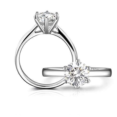 Olrla 6.5mm 1 ct certificado cultivada en laboratorio moissanite anillo de compromiso de diamantes aniversario para la señora, tamaño 17