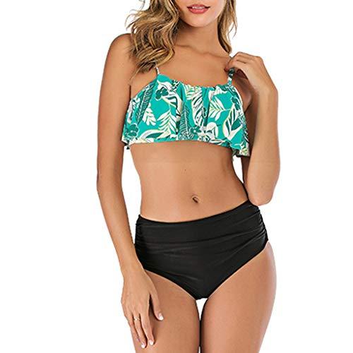 IHEHUA Rüschen Bikini Damen Badeanzug Geblümt Zweiteilige Bademode Sexy Boho Swimsuit Verstellbarem Schulterriemen Swimwear Hoher Taille Bikini Set Rückenfrei Weste(A-Grün,36)