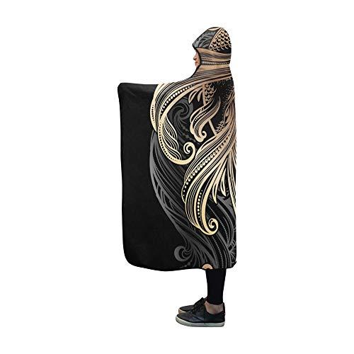 Rtosd Mit Kapuze Decke handgezeichnete asiatische spirituelle Symbole Gold Decke 60 x 50 Zoll Comfotable Hooded Throw Wrap
