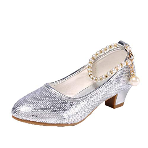 Zapatos de Princesa para niñas cómodos Suela Suave tacón bajo Punta Redonda Zapatos de Cuero Zapatos de Baile para niños Fiestas de Bodas Rendimiento