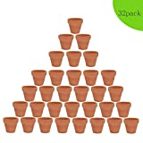 32pcs Clay Pots, 2'' Terracotta Pot Clay Ceramic Pottery Planter, Cactus Flower Terra Cotta Pots, Succulent Nursery Pots, with Drainage Hole, for Indoor/Outdoor Plants, Crafts