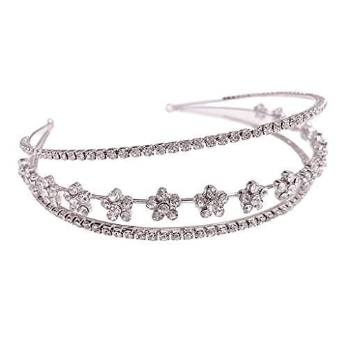 RENSLAT Tiara de Diamantes de imitación de Corona de Estrella para Boda Nupcial Tocado de Estrella Accesorios para el Cabello de Cristal Hechos a Mano Diademas