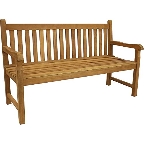 Sunnydaze Solid Teak Outdoor Bench - Light Brown Wood Stain Finish - Mission Style - 59 Inches Long - Patio, Deck, Lawn, Garden, Terrace or Backyard