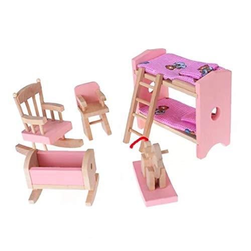 Conjunto de muebles de madera en miniatura incluye litera cama silla cuna niño regalo casa de muñecas mini muebles de juguete productos para el hogar