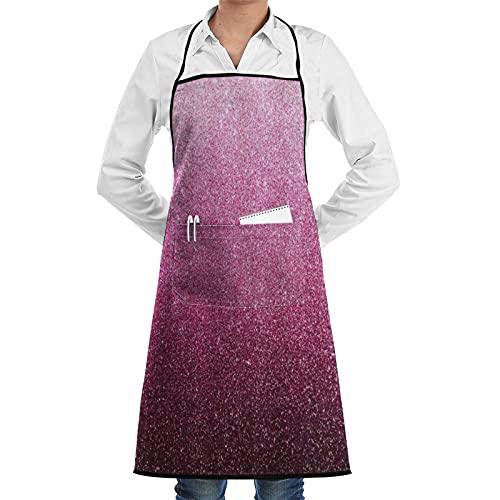 FAKAINU Delantales de cocina para mujer y hombre, delantal impermeable, festival del día de San Valentín con textura de purpurina rosa, delantal con 1 bolsillo para cocina casera, cocina de restauran