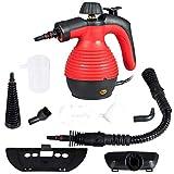 Goplus Handheld Pressurized Steam Cleaner, Multi-Purpose Steamer, Steam Iron, 1050W, W/Attachments (Red)