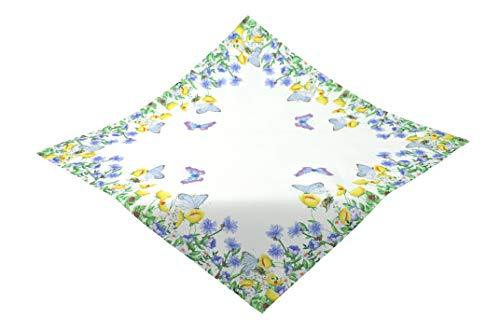 Kamaca Serie Schmetterlingswiese hochwertiges Druck-Motiv mit wundervollen Blumen und Schmetterlingen - EIN Schmuckstück auf jedem Tisch in Frühling Sommer (Tischdecke 85x85 cm blau bunt)