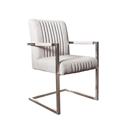 Invicta Interior Freischwinger Stuhl Big Aston Stone grau Federkern mit Armlehne Edelstahl Gestell Esszimmerstuhl Stuhl
