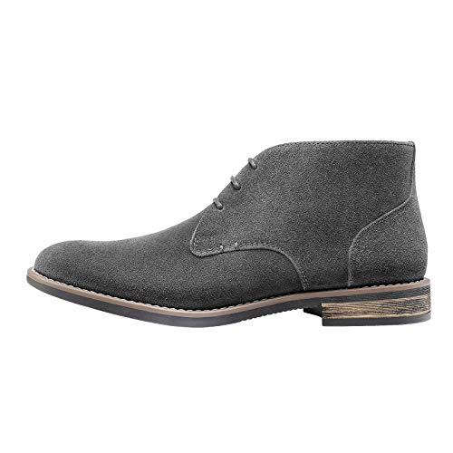 Bruno Marc Men's URBAN-01 Grey Suede Leather Lace Up Oxfords Desert Boots – 10.5 M US