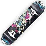 HBHHYRT 31×8 Inch Skateboard Skateboard Completo 7 Capas De Arce De Alta Tenacidad Tabla De Skate para Adultos, Adolescentes Y Niños,King