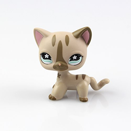 SmileFly Littlest Pet Shop LPS Toy Pet Short Hair Cat Animal Child Girl Boy Figure Loose Cute Standing Cat Mask Short Hair (Choose Your cat) for Kids Gift 1pc