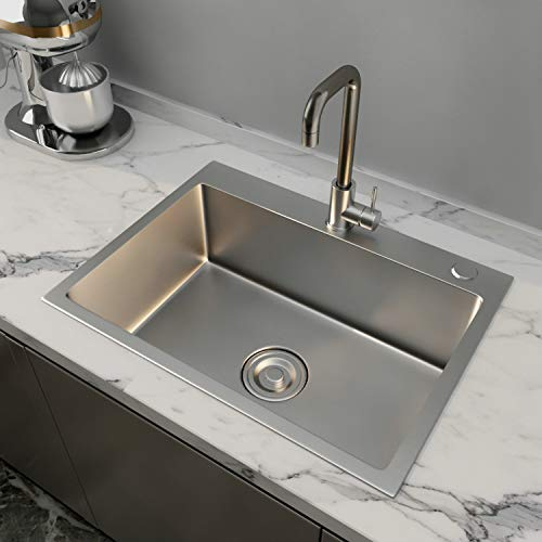 """24x18"""" Stainless Steel Kitchen Sink Include Faucet&Drain 8"""" Deep Single Bowl,Drop In"""