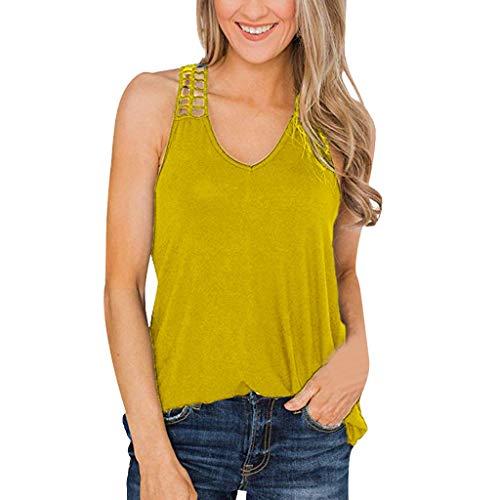 Janly - Chaleco informal para mujer, cuello en V, sin mangas, con tiras, para mujer, color amarillo (L)