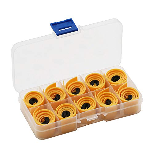Huntcool 10pcs Powerful Slingshot Flat Rubber Band 0.75mm Thickness with Box for Hunting Slingshot Catapult (0.75mm Yellow)