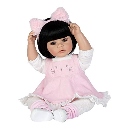 Adora ToddlerTime Kitty Kat Doll with Corduroy Dress and Furry Pink Kitty Headband