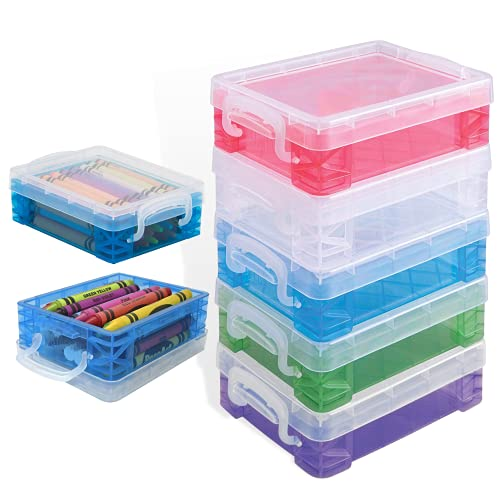 """Vlish 6 Crayon Storage Box - Pack of 6, Transparent 