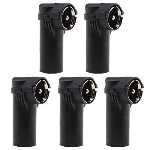 5 adaptadores de antena macho a ISO hembra, conector de ángulo recto FM/AM de radio con manguito de plástico universal