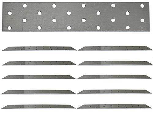 Placa de unión plana galvanizada de acero resistente, chapa de acero de 7.87 x 1.57 x 0.08 pulgadas (200 x 40 x 2 mm) paquete de 10 unidades