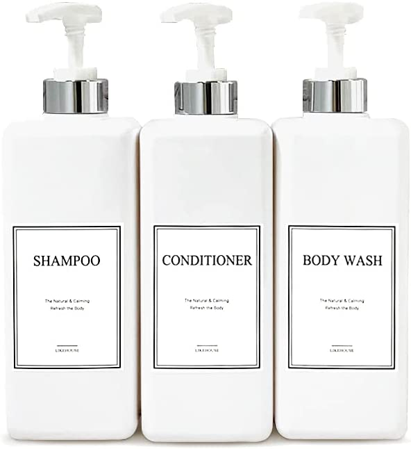 CNC 27.05 oz Pump Bottle of The Bathroom, 4 Waterproof Label Sticker, Pack of 3 Shower Plastic Bottles, Soap Dispenser (Silver-White) : Everything Else
