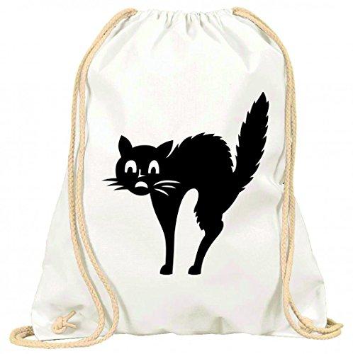 'Turn Bolsa 'miedo de animales de gato nevera Remeras de gatos de gato de mascotas de silueta de sorpresa con cordón–100% algodón de bolsa Con Asas De Mochila de bolsa de deporte, Weiß
