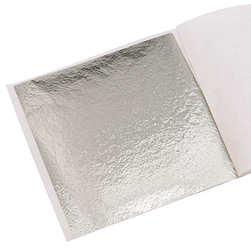 KINNO Pan de Oro de Imitación para Artesanía, Manualidades, Decoración de Muebles 100 hojas 8x8.5cm/3.15''x3.35'' (plata champán clara)