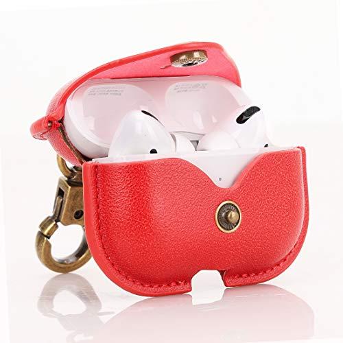 CRESEE Hülle für Apple AirPods Pro Hülle, PU Leder Schutzhülle Tasche Stoßfest Cover für AirPods Pro 2019 (Rot)