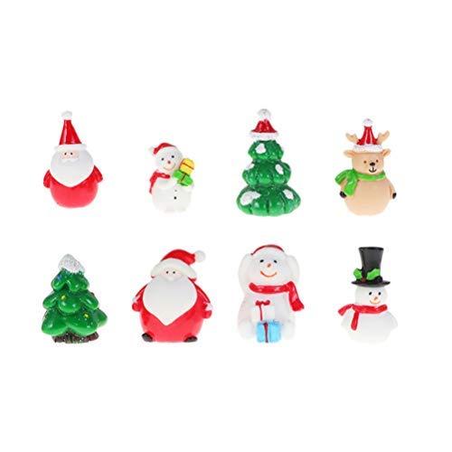 NUOBESTY 8 piezas de Navidad en miniatura, Papá Noel, muñeco de nieve mini de resina Santa Elk, adorno de resina para decoración de escritorio de Navidad