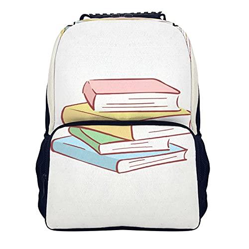 16 Pollice Spalla Zaino Colorato Libro Pile 40x28x16cm Pranzo Zaino per le Donne, Scuola College Computer Portatile Bookbag