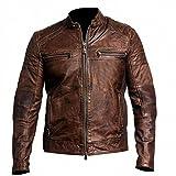 HiFaved Chaqueta de piel para hombre, estilo vintage, color marrón