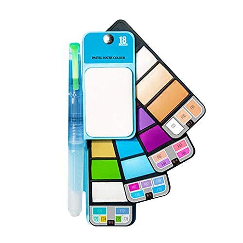 Dastrues 18/25 Colors Plegables Acuarela Set de Pinturas Portátil Viaje Cepillo Paleta de Mezcla Agua Color Kit - Azul, 18 Colors