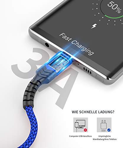 JSAUX USB C Kabel [2 Stück 2M ] Nylon Typ C Ladekabel für Samsung Galaxy S10 S9 S8 Plus,Note 10 9 8,A3 A5 2017,LG G5 G6 V20,HTC 10 U11,Sony Xperia XZ Xa1, Huawei P30 P20 Mate 20 Lite P10 P9 usw (Blau)