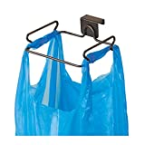 iDesign Classico Steel Over the Cabinet Plastic Bag Holder for Kitchen, Pantry, Bathroom, Dorm Room, Office, Bronze