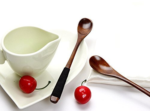 Wowlife Retro Handcrafted Wooden Long Coffee Tea Spoon Espresso Spoon Coffee Stirrers with Cable Tie,Set of 2