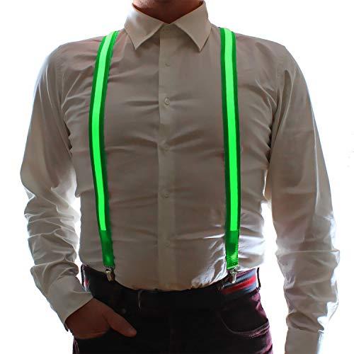 Originelle LED Hosenträger grün Herren & Damen Fashio LED-Accesoires y-träger leuchtet vorne & hinten Farbe Grün