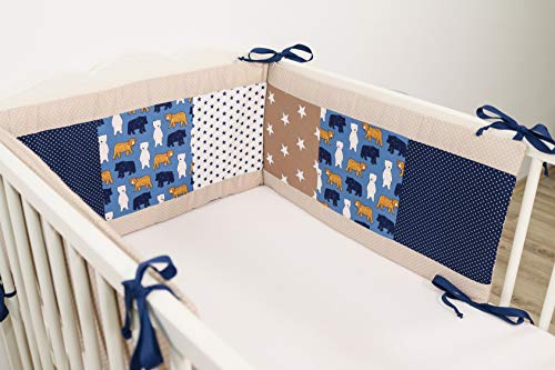 ULLENBOOM ® baby bedomrander l 210 x 30 cm l stootrand voor ledikantjes, hoofdbeschermer ledikant in de maat 140 x 70 cm I zand beer