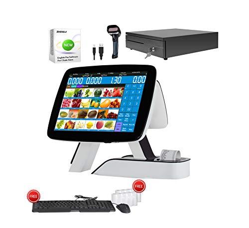 Tactile double écran caisse enregistreuse tout en un avec imprimante thermique intégrée + scanner de codes à barres + tiroir-caisse + MSJ POS Softwear