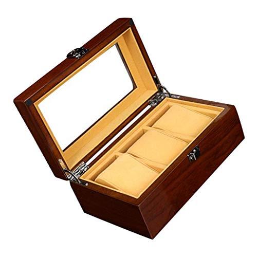 IPOTCH Holz Uhrenbox Uhrenkasten für 3 Uhren, Reise-Uhren-Display, Uhren mit herausnehmbaren Uhrenkissen und Glasdisplay für Schmuck, Uhren
