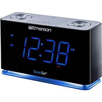 SmartSet Alarm Clock Radio with Bluetooth Speaker USB Charger for iPhone and Android Night Light and Blue LED Display  Renewed
