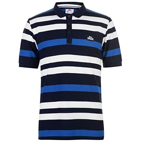 Lonsdale Yarn Dye - Camiseta Polo para hombre - Fantasía a rayas Azzurro/Bianco/Blu 3XL